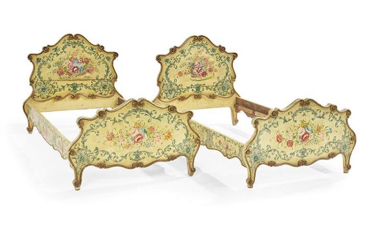 Pair of Italian Rococo Polychrome Twin Beds