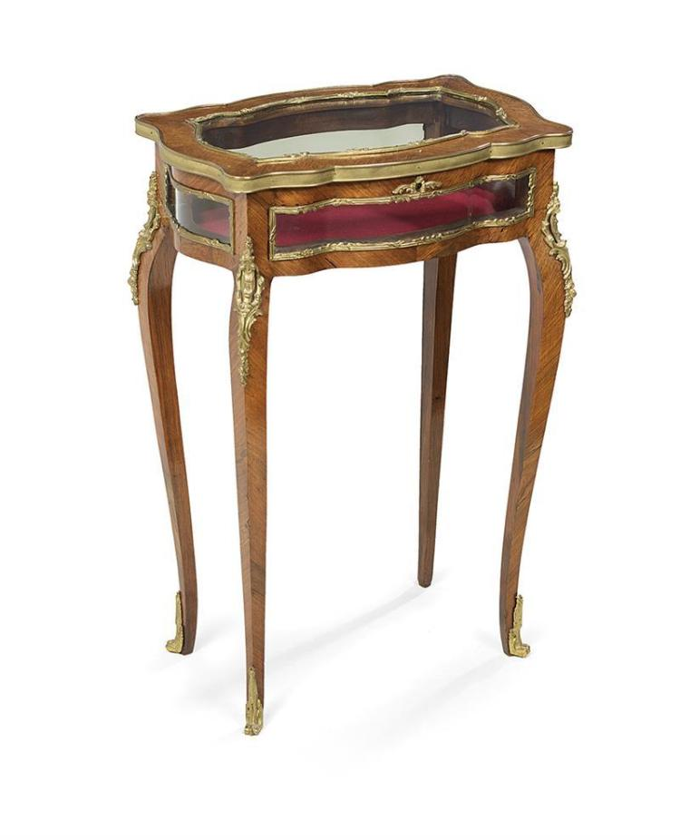 Louis xv style mahogany vitrine table for Table vitrine