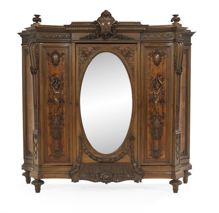 impressive continental carved walnut armoire. Black Bedroom Furniture Sets. Home Design Ideas
