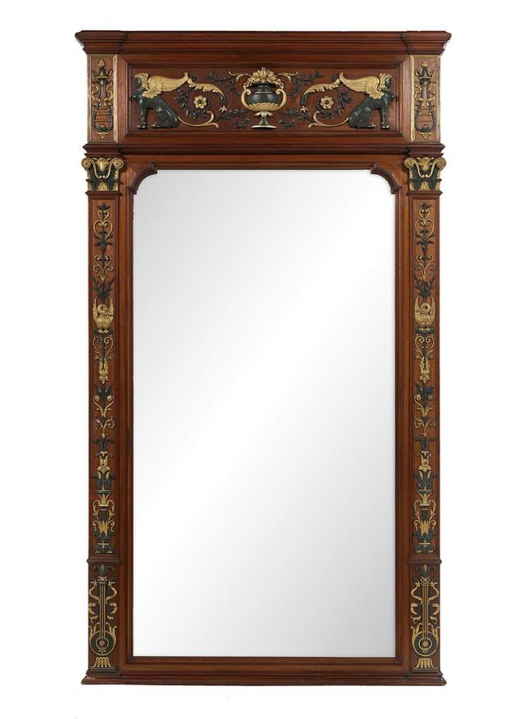 Parcel gilt and verdigris painted mahogany pier mirror for M furniture gallery new orleans