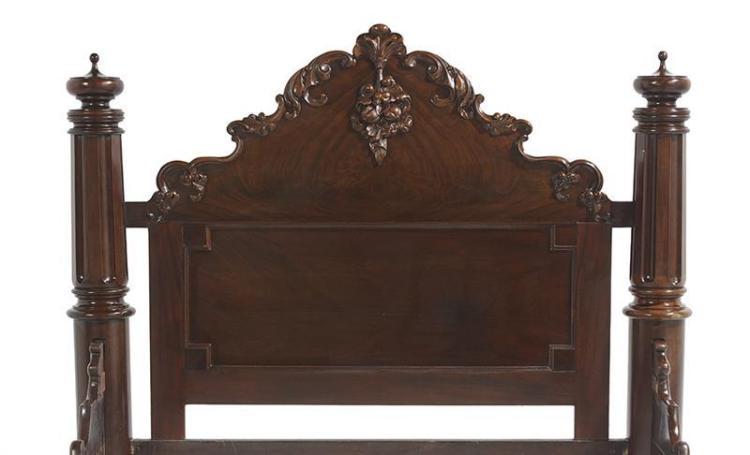 New Orleans Market Rococo Revival Mahogany Bed