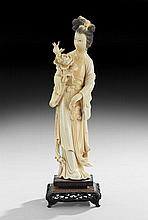 Chinese Ivory Figure of a Beauty on Stand