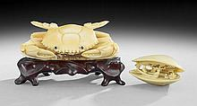 Chinese Carved Ivory Figure of a Crab