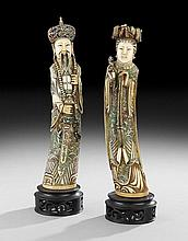 Antique Chinese Polychrome Ivory Imperial Pair