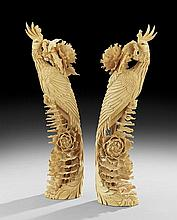 Pair of Antique Chinese Ivory Peacocks