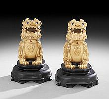 Pair of Chinese Ivory Foo Dog Bottles on Stands