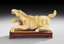 Chinese Carved Ivory Horse on Stand