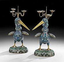 Pair of Chinese Cloisonne Candle Prickets
