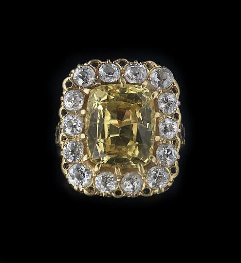 18-Karat Gold, Diamond and Yellow Sapphire Ring