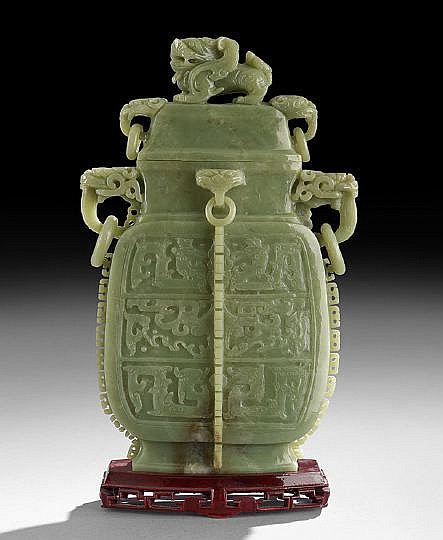 Chinese Jade Covered Jar