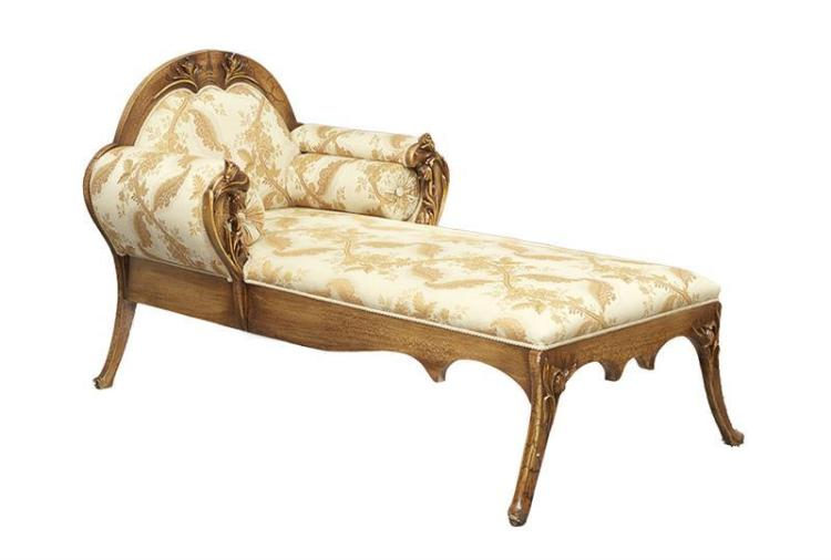 art nouveau inspired bronze toned chaise lounge. Black Bedroom Furniture Sets. Home Design Ideas