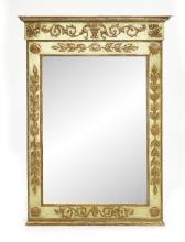 Italian Polychrome and Parcel-Gilt Mirror