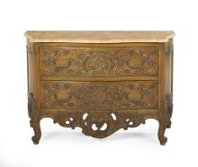 Regence-Style Fruitwood and Marble-Top Commode