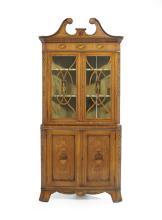 Edwardian Satinwood Corner Cabinet