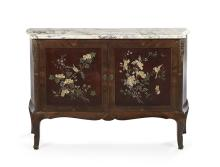 Continental Rosewood and Marble-Top Cabinet
