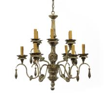 Italian Silver Giltwood and Metal Chandelier