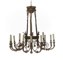 Louis XVI-Style Bronze and Crystal Chandelier