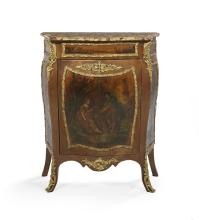 Louis XV-Style Polychrome and Marble-Top Cabinet