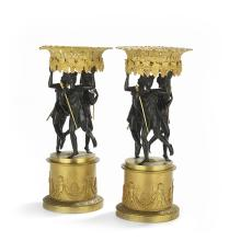 Pair of French Empire-Style Bronze Centerpieces