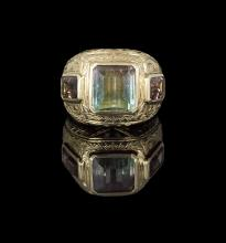 Men's 18 Kt. Gold and Watermelon Tourmaline Ring