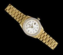 Men's Rolex Gold and Diamond President Wristwatch