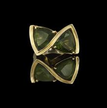 Men's 14 Kt. Yellow Gold and Green Quartz Ring