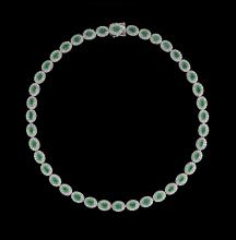 14 Kt. White Gold, Emerald and Diamond Necklace