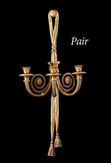 Large Pair of Jansen, Paris, Gilt-Bronze Three-Light