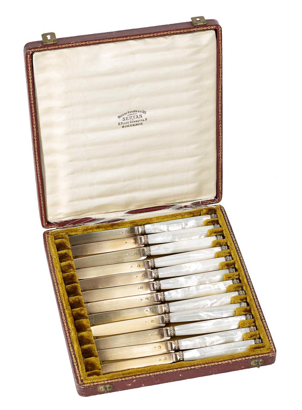 La Maison Des Deux Fées Bordeaux good cased set of french silver gilt and mother-of-pearl fru