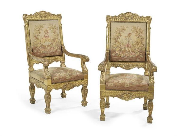 pair of louis xiv style giltwood fauteuils. Black Bedroom Furniture Sets. Home Design Ideas