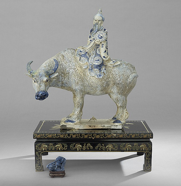 Chinese Ceramic Sculpture of Laozi Astride an Ox