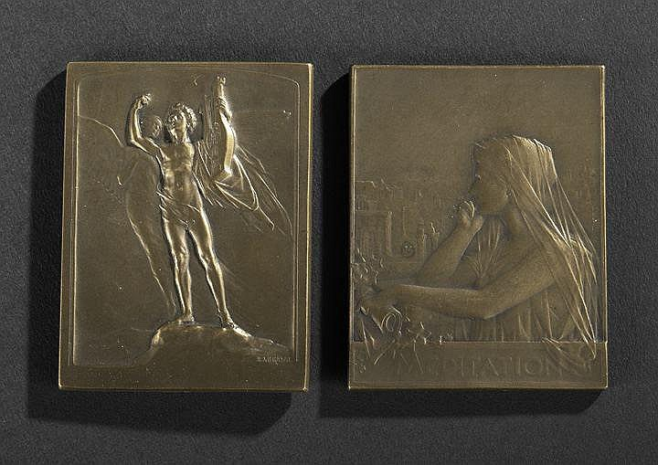 Two French Bronze Allegorical Art Medals, 1897 and
