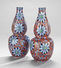Pair of Transfer-Printed Double Gourd Vases
