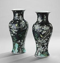 Pair of Chinese Famille Noire Vases