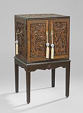 Chinese Carved Wooden Cabinet on Stand
