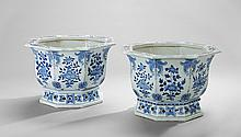 Pair of Chinese Blue and White Planters