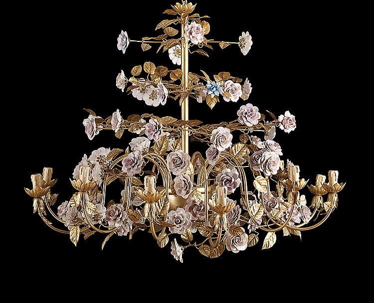 Italian Porcelain-Mounted Chandelier and Sconces