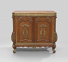 Tuscan-Inspired Giltwood and Mahogany Cupboard