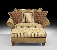 Contemporary Settee with Ottoman and Pillows