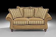 Contemporary Overstuffed Settee with Five Pillows