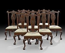 Eight Irish Georgian-Style Mahogany Dining Chairs