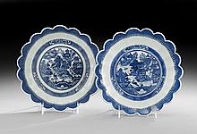 Two Chinese Export Porcelain Pudding Dishes