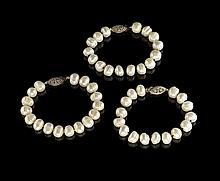 Three Baroque Freshwater Pearl Bracelets
