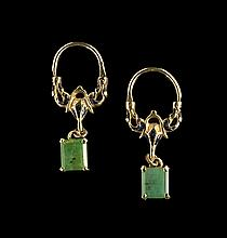 Pair of 14 Kt. Gold, Emerald and Enamel Earrings