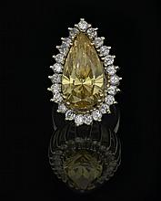 14 Kt. Gold, Yellow Cubic Zirconia & Diamond Ring