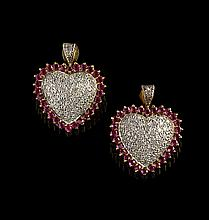 Pair of 14 Kt. Gold, Diamond and Ruby Earrings
