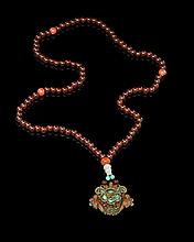 Chinese Beaded Necklace with Ornate Pendant