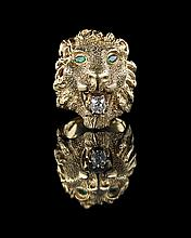 18 Kt. Yellow Gold, Diamond and Emerald Lion Ring