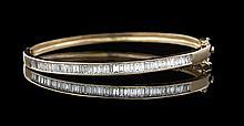 14 Kt. Yellow Gold and Diamond Bangle Bracelet