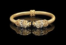 18 Kt. Yellow Gold and Diamond Hinged Bracelet